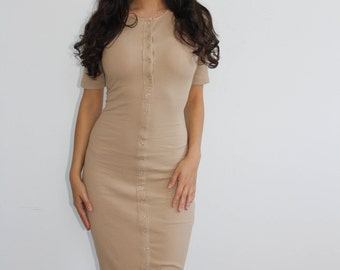 Button It Up Midi Dress