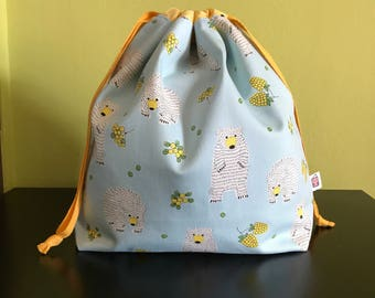"Handmade drawstring bag / pouch for knitting crochet project 10.5"" x 8"" x 3.5"" *Polar Bear yellow*"