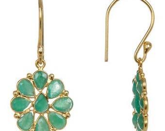 0.925 sterling silver gold vermail green onyx flower earring