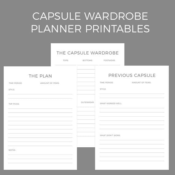 capsule wardrobe planner printables a4 and us letter size. Black Bedroom Furniture Sets. Home Design Ideas