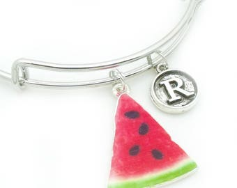 Watermelon bracelet with vintage style initial | personalised watermelon jewellery | watermelon gift