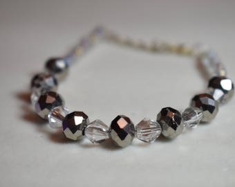 Sparkly Gunmetal and Silver Bracelet