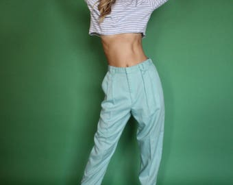 Turquoise Pants, Sea foam Trousers, High Waist Pants, Woman's Pants, Vintage Trousers, Turquoise Trousers, Womans Size 4, 80s Tapered pants