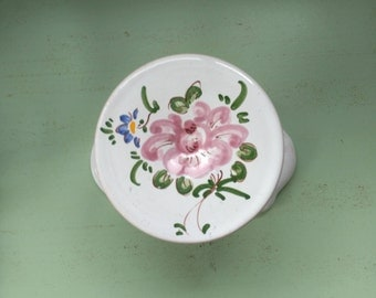 Hook hand decor is Moustiers faience floral French vintage