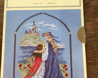 Original DMC 'Sisters' by Elizabeth Davies' Counted Cross Stitch pattern/Ref PC5