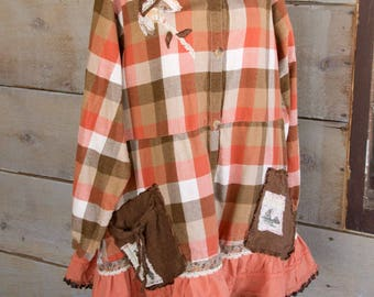 Flannel Shirt - Tunic  - Boho Clothing - Upcycled - Womens Plus Size 3X A Line Style - Jacket , Pumpkin, tobacco and cream Check Flower back