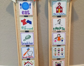 Child visual schedule Chart, handmade canvas, daily schedule
