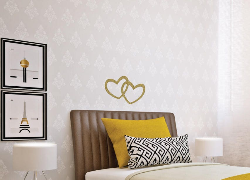 2 Interlocking Hearts Wall Decal, Removable Heart Sticker, Metallic Heart  Stickers, Wall Decals