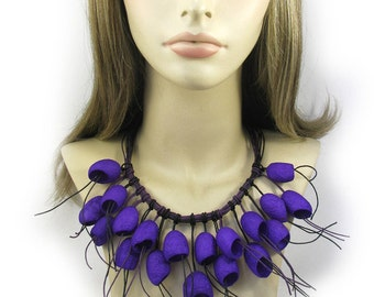 necklace silk cocoon, purple necklace, purple decoration on the neck,  Unusual Silk necklace, boho style, silk cocoons jewelry
