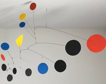 Hand-Painted Alexander Calder Inspired Mid-Century Modern Abstract Kinetic Mobile Sculpture #17