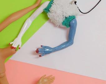 Barbie hands necklace /vintage doll/Vintage Mattel / Hip hop/weirds/style/remade/mixed art