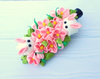 Pink flower kanzashi Tsumami kanzashi Rabbit hair clip Geishas hair piece Traditional japan flower Fantasy hair clip Origami hair clip