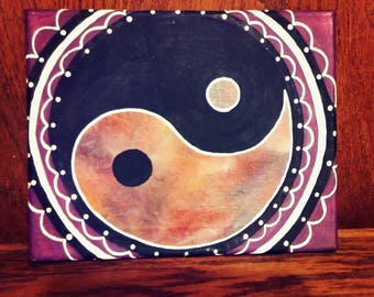 8x10 Ying&Yang Acrylic Painting With Melted Crayon Art