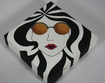 Gold Sunglasses Girl Original Acrylic Painting