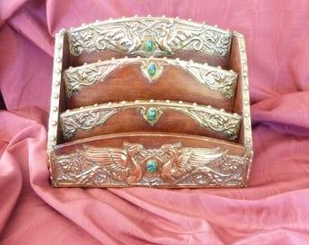 antique art nouveau repousse griffins cabochons desk letter rack