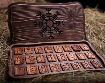 Elder Futhark runes in a box