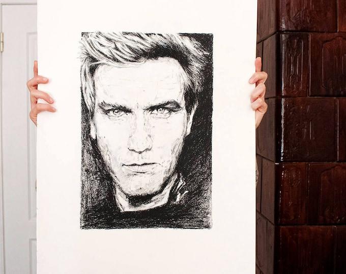 Ewan McGregor Portrait ORIGINAL Art Oil Pastel Drawing Obi-Wan Kenobi Trainspotting Movie-star portrait Star Wars Actor Portrait