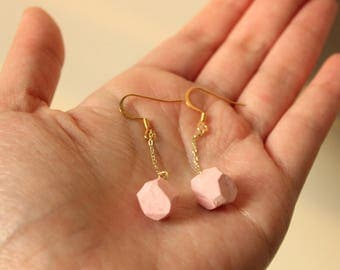 Pink Gemstone Earrings, Soft Marble, Pink and Gold, Dangle earrings, Everyday Jewelry