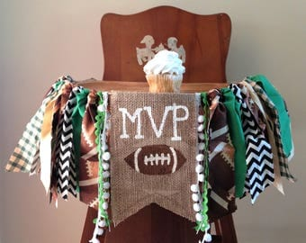 Football High Chair Banner/MVP/Cake Smash/First Birthday Photo Shoot Prop/Sports Fall Boy Tailgate Theme/Party Decor/One Year Old Boy/Custom