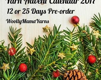 Hand Dyed Yarn Advent Calendar PRE-ORDER, 12 mini skeins or 24 mini skeins + 100g skein, 4Ply Merino Sock, Xmas Gift For Knitter/Crocheter