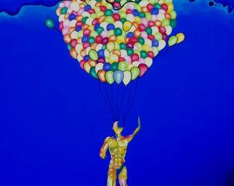 Print of an Oil Painting, Art, Surrealism, Pop Art, Balloons, Man, Color