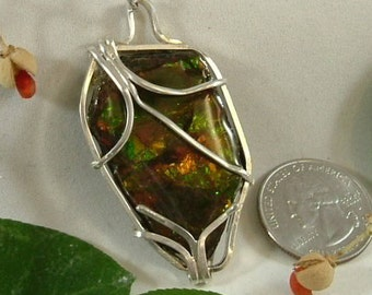 Ammolite Necklace Sterling Silver Large Utah Gem Fossil Chunky Statement Necklace Statement Jewelry Red Orange Green Yellow Fire  415 G