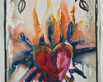 Hand Printed Silk Screen Mono Print Three of Swords Tarot & Sacred Heart Inspired