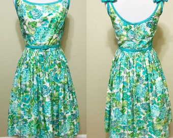 1950's Green and Blue Floral Print Sundress