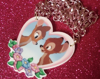 Bambi and Faline Heart Shaped Bib Style Necklace, Disney, Pink