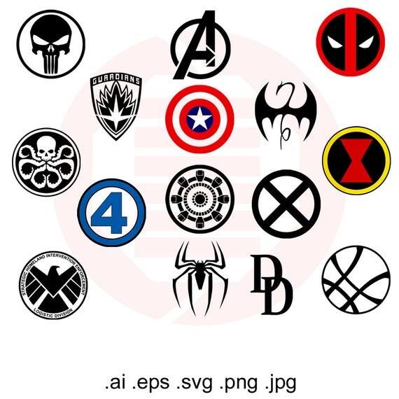 superhero avengers marvel svg infiniti war symbols clipart