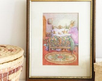 Vintage framed Lynne Willey print