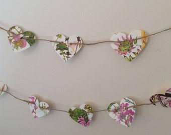 Genuine vintage floral flower art prints bunting garland heart pink botanical wedding decoration
