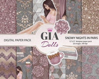 Winter digital paper pack, winter digital paper, winter paper, winter fashion paper, paris digital paper pack,paris paper