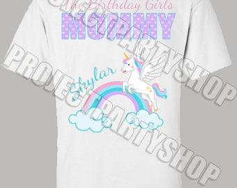 Unicorn Mommy Shirt, Unicorn Birthday Shirt, Unicorn Mommy of the Birthday Girl Shirt, Unicorn First Birthday Shirt