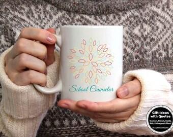 School Counselor Gift, Counselor Appreciation Week, School Counselor Mug, School Counselor Coffee Cup, Christmas Gift Idea, Purple Flower