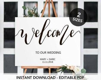 Welcome Wedding Sign Printable, Welcome Calligraphy Wedding  Sign, Welcome Editable  Sign, Modern Calligraphy Welcome Wedding Sign.