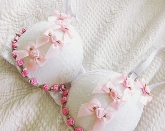 lolita white lace bra with pink bows cute glam ddlg