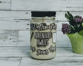 Organic Beeswax Candles - Adventure Awaits - Scented Beeswax Candles - Mason Jar Candle - Beeswax Candles - 16 oz Candle - Soy Candles