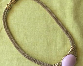 Vintage Trifari Pink Stoned Choker Necklace 1980s