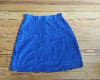 Mod Blue Corduroy Mini Skirt - Small