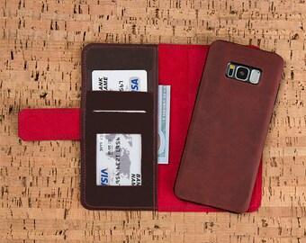 Galaxy S8 Wallet, Galaxy S8 Plus Wallet, Samsung Galaxy S8 Leather Wallet Case, Leather Samsung Galaxy S8 Plus Case Wallet, S8 Plus Case-RED