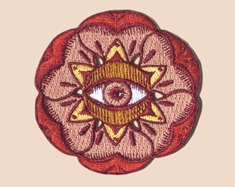 Floral Evil Eye Embroidered Patch
