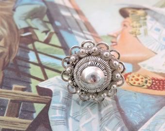Antique Traditionelen Large Silver Button Ring Zeeland Zeeland