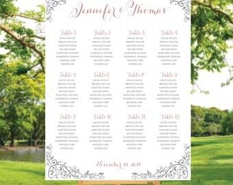 Calligraphy wedding seating chart, Printable Wedding Seating Chart, Wedding Seating Chart, Seating chart template, Seating chart poster, S76
