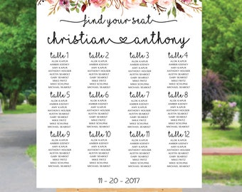 Wedding seating chart template, Poster wedding seating chart, Wedding Table seating chart, Boho wedding seating chart, Find Your Seat, SC98