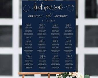 Navy wedding seating chart, Wedding seating chart poster, Wedding Seating Chart, Gold wedding seating chart, Seating chart template, SC173