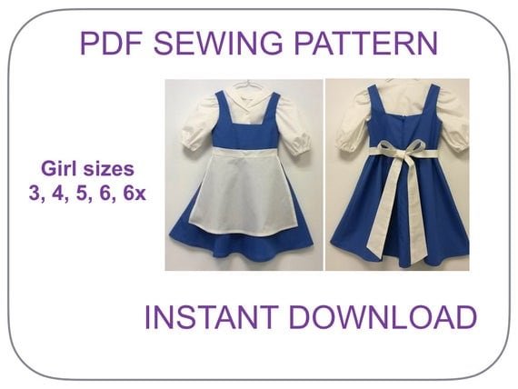 This adorable Belle blue dress pattern includes patterns for 3 pieces-dress, blouse and apron. Girls