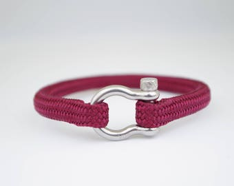 BURGUNDY & silver| Sailing bracelet - Custom and Handmade