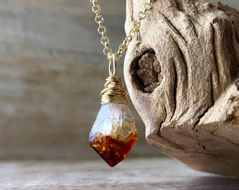 Raw Citrine Necklace, 14K Gold filled Rough Citrine Jewelry, Raw Crystal Necklace, Wire Wrapped Citrine Pendant, November Birthstone Gift