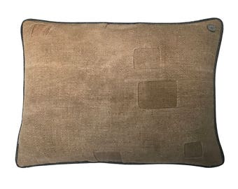 Antique English Grain Sack Pillow - 22 x 17""